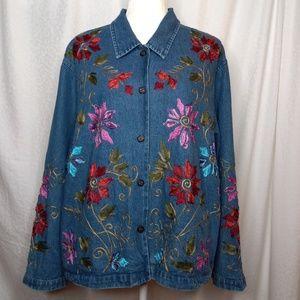 TANTRUMS Embroidered Denim Jacket Sz L